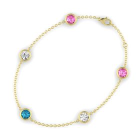Round London Blue Topaz 14K Yellow Gold Bracelet with White Sapphire & Pink Sapphire