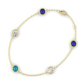Round London Blue Topaz 14K Yellow Gold Bracelet with White Sapphire and Blue Sapphire