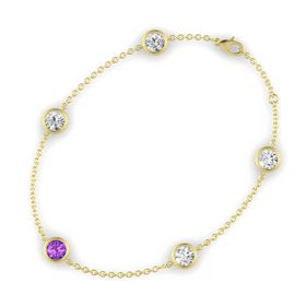 Round Amethyst 14K Yellow Gold Bracelet with White Sapphire