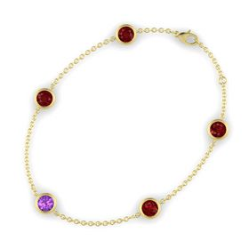 Round Amethyst 14K Yellow Gold Bracelet with Ruby