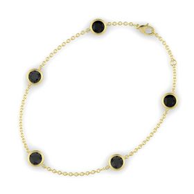 Round Black Diamond 14K Yellow Gold Bracelet with Black Diamond and Black Onyx
