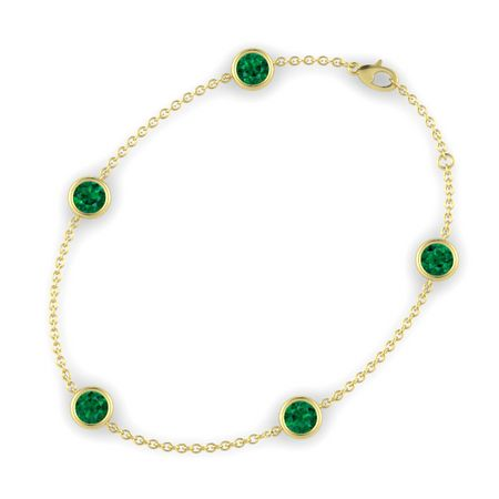 Top Round Emerald 14K Yellow Gold Bracelet with Emerald | Gemstones By  AG53