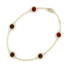Round Red Garnet 14K Yellow Gold Bracelet with Red Garnet and Ruby
