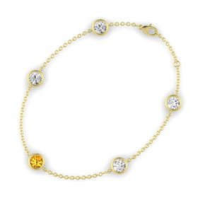 Round Citrine 14K Yellow Gold Bracelet with White Sapphire