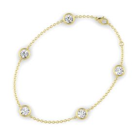 Round White Sapphire 14K Yellow Gold Bracelet with White Sapphire