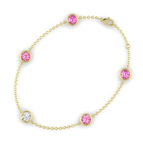Round White Sapphire 14K Yellow Gold Bracelet with Pink Tourmaline and Pink Sapphire