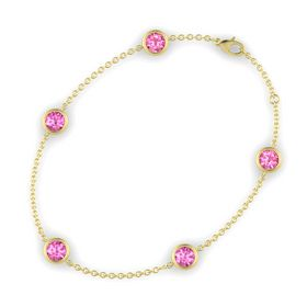 Round Pink Sapphire 14K Yellow Gold Bracelet with Pink Sapphire and Pink Tourmaline