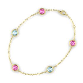 Round Pink Sapphire 14K Yellow Gold Bracelet with Aquamarine and Pink Sapphire
