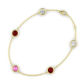 Round Pink Sapphire 14K Yellow Gold Bracelet with Ruby & White Sapphire
