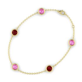 Round Pink Sapphire 14K Yellow Gold Bracelet with Ruby and Pink Sapphire