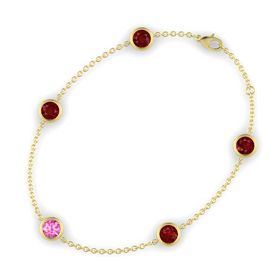 Round Pink Sapphire 14K Yellow Gold Bracelet with Ruby