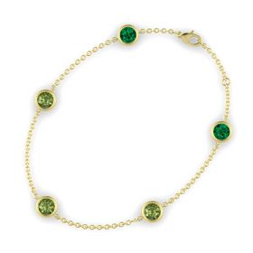 Round Green Tourmaline 14K Yellow Gold Bracelet with Green Tourmaline and Emerald