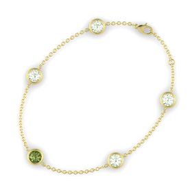 Round Green Tourmaline 14K Yellow Gold Bracelet with Green Amethyst
