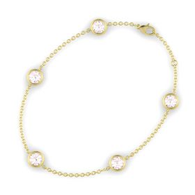 Round Rose Quartz 14K Yellow Gold Bracelet with Rose Quartz