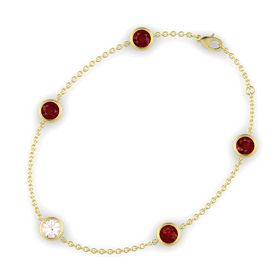 Round Rose Quartz 14K Yellow Gold Bracelet with Ruby