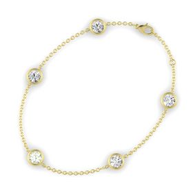 Round Green Amethyst 14K Yellow Gold Bracelet with White Sapphire