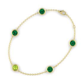 Round Peridot 14K Yellow Gold Bracelet with Emerald
