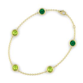 Round Peridot 14K Yellow Gold Bracelet with Peridot and Emerald