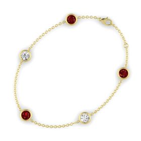 Round Ruby 14K Yellow Gold Bracelet with White Sapphire & Ruby