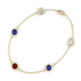 Round Ruby 14K Yellow Gold Bracelet with Sapphire & White Sapphire