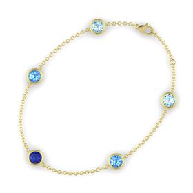 Round Blue Sapphire 14K Yellow Gold Bracelet with Blue Topaz and Aquamarine