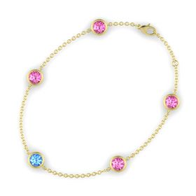 Round Blue Topaz 14K Yellow Gold Bracelet with Pink Sapphire