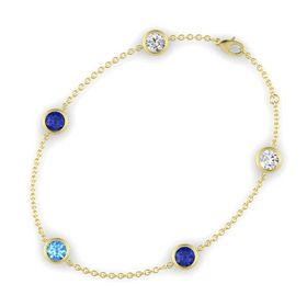 Round Blue Topaz 14K Yellow Gold Bracelet with Blue Sapphire and White Sapphire