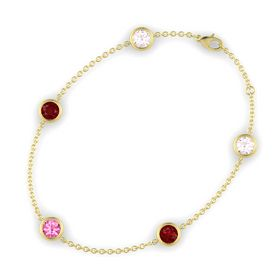 Round Pink Tourmaline 14K Yellow Gold Bracelet with Ruby & Rose Quartz
