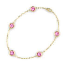 Round Pink Tourmaline 14K Yellow Gold Bracelet with Pink Tourmaline