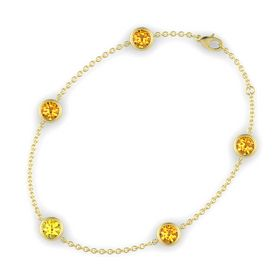 Round Yellow Sapphire 14K Yellow Gold Bracelet with Citrine