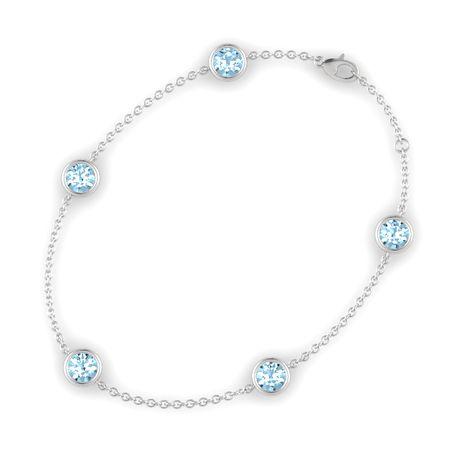 Round Aquamarine Sterling Silver Bracelet With Aquamarine