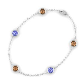 Round Smoky Quartz Sterling Silver Bracelet with Tanzanite & Smoky Quartz