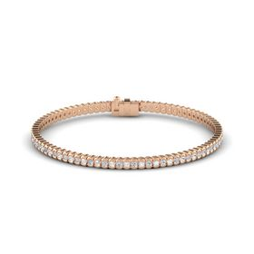 14K Rose Gold Bracelet with White Sapphire and Diamond