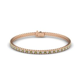 14K Rose Gold Bracelet with Green Tourmaline and Diamond