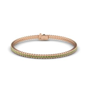 14K Rose Gold Bracelet with Green Tourmaline
