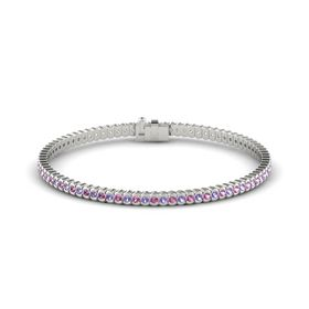 14K White Gold Bracelet with Pink Sapphire and Iolite