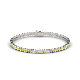 14K White Gold Bracelet with Yellow Sapphire