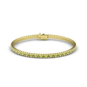 14K Yellow Gold Bracelet with Green Tourmaline and Peridot