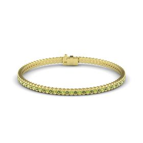 14K Yellow Gold Bracelet with Peridot and Green Tourmaline