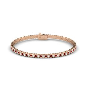 18K Rose Gold Bracelet with White Sapphire and Ruby