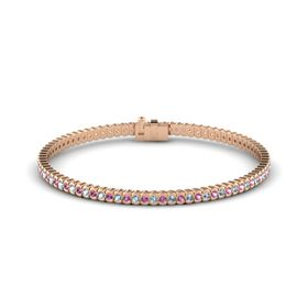 18K Rose Gold Bracelet with Aquamarine and Pink Sapphire