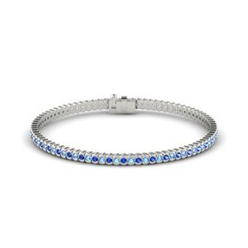 18K White Gold Bracelet with Blue Sapphire and Blue Topaz