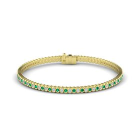 18K Yellow Gold Bracelet with Diamond and Emerald