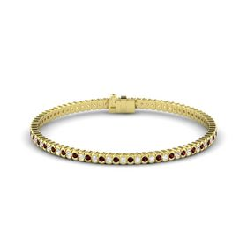 18K Yellow Gold Bracelet with White Sapphire and Red Garnet