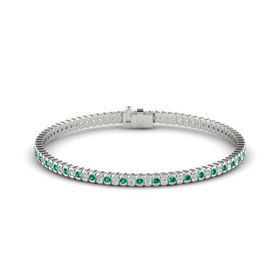 Palladium Bracelet with Emerald and Diamond