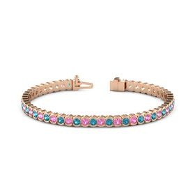 14K Rose Gold Bracelet with London Blue Topaz & Pink Tourmaline