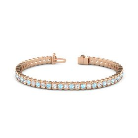 14K Rose Gold Bracelet with White Sapphire and Aquamarine