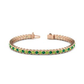 14K Rose Gold Bracelet with Peridot and Emerald