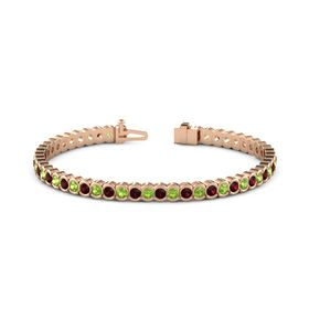 14K Rose Gold Bracelet with Peridot and Red Garnet