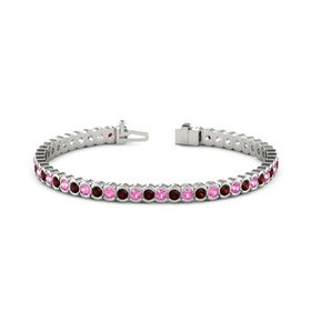 14K White Gold Bracelet with Red Garnet and Pink Tourmaline